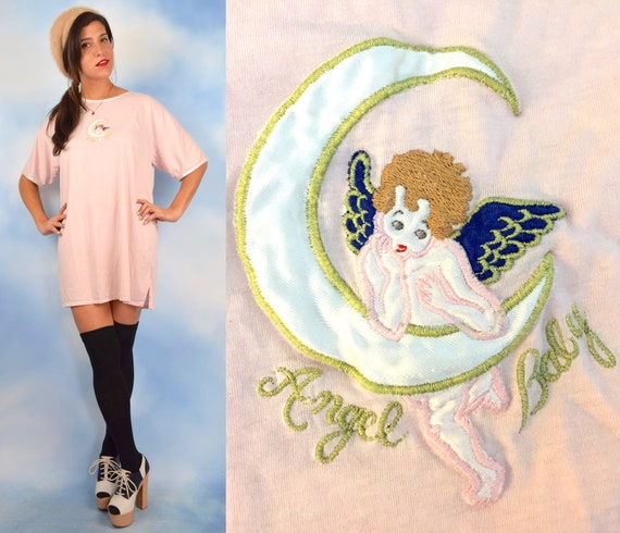 Vintage 90s Angel Baby Pink Embroidered Sleep Shirt (one size fits all)