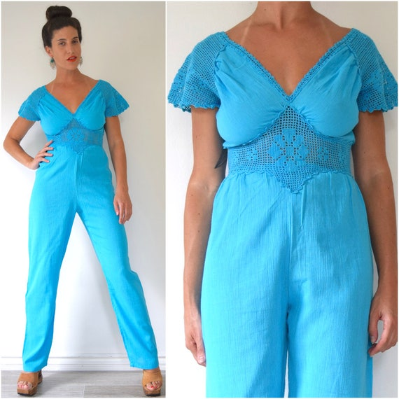 Vintage 70s Turquoise Blue Cotton Gauze Jumpsuit with Crocheted Sleeves and Waistband (size xs, small)