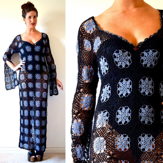 Vintage 70s Laurel Canyon Black and Purple Crocheted Maxi Dress