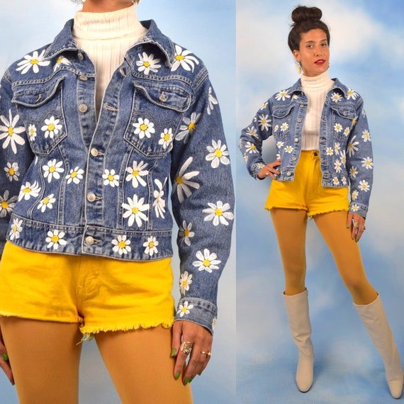 Vintage 90s Hand Painted Flower Bombed Daisy Denim Jacket (size small, medium)
