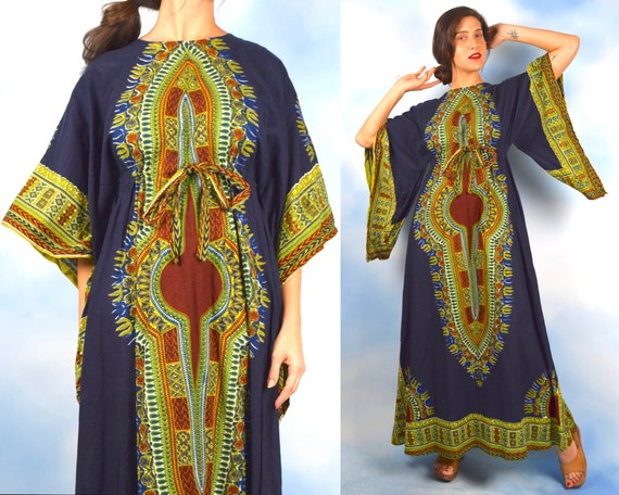 Vintage 60s 70s Tribal Angel Wing Empire Waist Dashiki