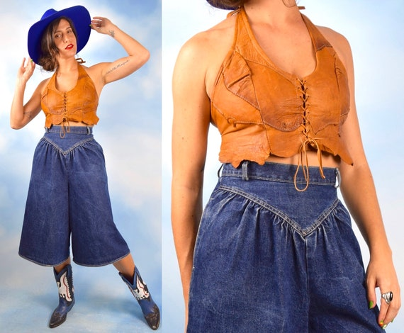 Vintage 70s Whiskey Brown Leather Lace Up Halter Top