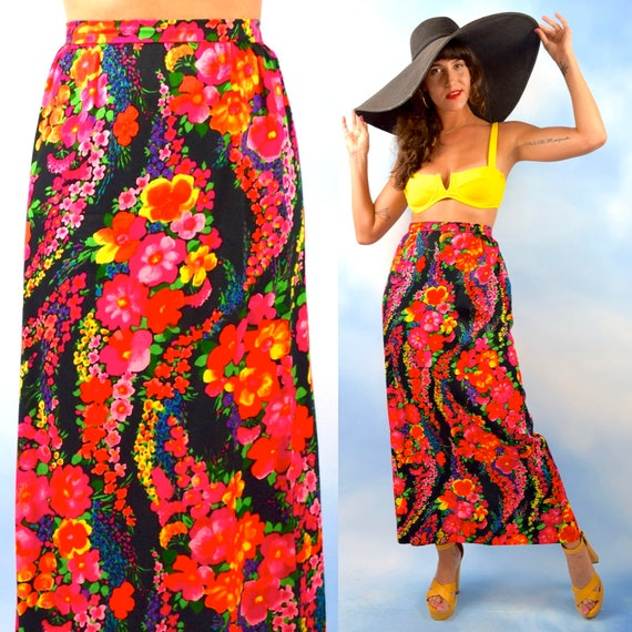 Vintage 70s Flower Bomb Rainbow Floral Print High Waisted Maxi Skirt (size medium, large)