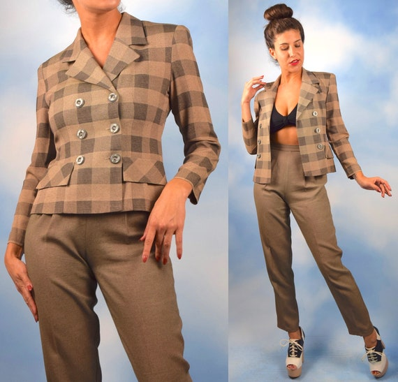 90s Tan and Black Buffalo Plaid Fitted Double Breasted Blazer and Matching High Waisted Tweedy Trousers (size xs, small)