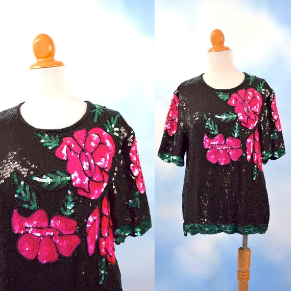 Vintage 80s 90s Hot Pink and Black Sequined Rose Blouse (size large, xl)
