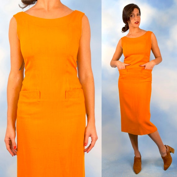 Vintage 50s 60s Saffron Yellow Hourglass Silhouette Wiggle Dress with Front Pockets (size small, medium)