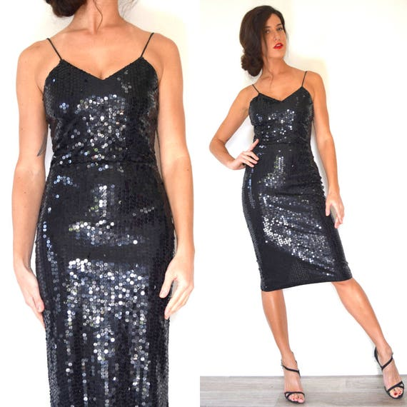 Vintage 90s does 50s Black Sequined Hourglass Silhouette Cocktail Dress (size xs, small)