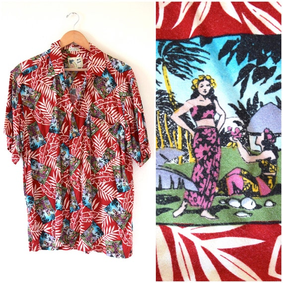 Vintage 80s 90s Tahitian Girls Red Hawaiian Print Short Sleeved Button Down Shirt (size large)