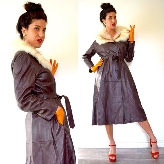 Vintage 60s 70s Chocolate Brown Leather Mid Length Trench Coat with Fur Collar (size small, medium)