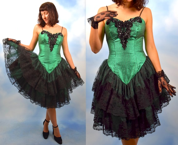 SALE SECTION / 50% off Vintage 80s Metallic Emerald Green and Black Lace Party Dress with Built in Petticoat (size small)