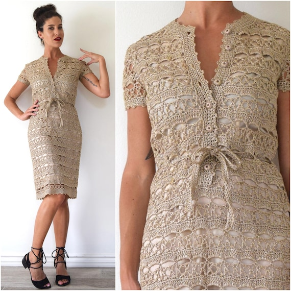 Vintage 60s 70s Metallic Gold and Taupe Crocheted Straw Wiggle Dress (size small, medium)