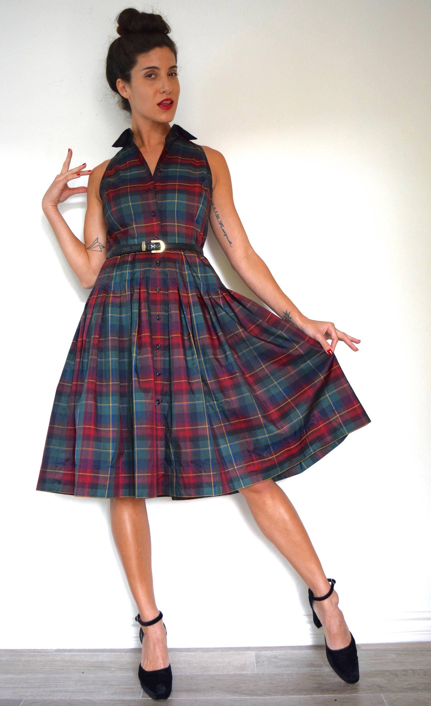 Vintage 50s Inspired Tartan Plaid Taffeta Pleated Shirt Waist Dress