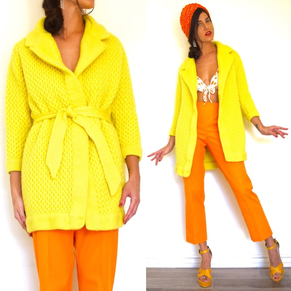 Vintage 70s 80s Sunshine Yellow Wool Knit Wrap Sweater (size medium, large)