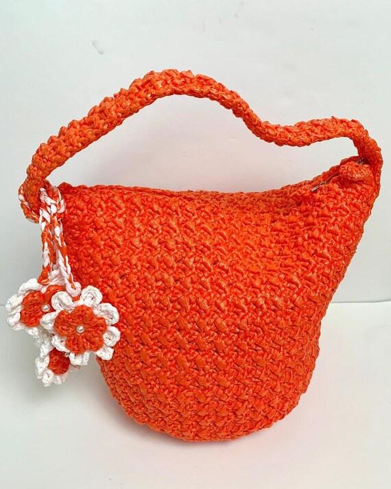 Vintage 60s 70s Bright Orange Plastic Raffia Crocheted Bucket Bag with Daisy Charms