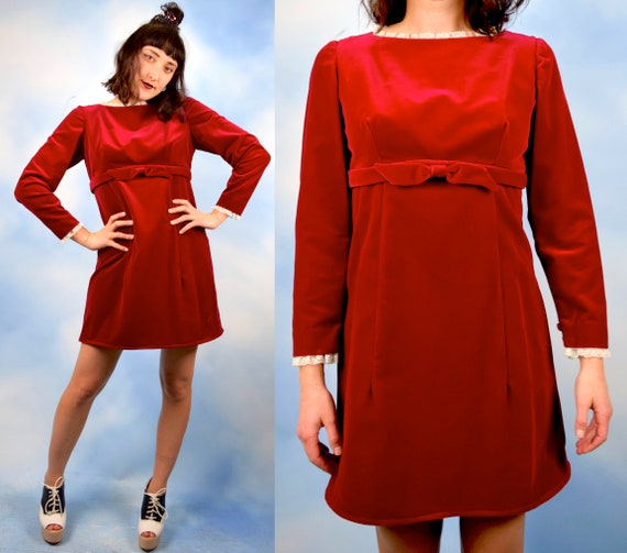 Vintage 60s Red Velvet Empire Waist Mini Dress (size small, medium)