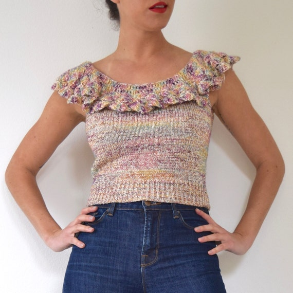 Vintage 70s 80s Metallic Knit Cropped Blouse with Ruffled Neckline (size xs, small)