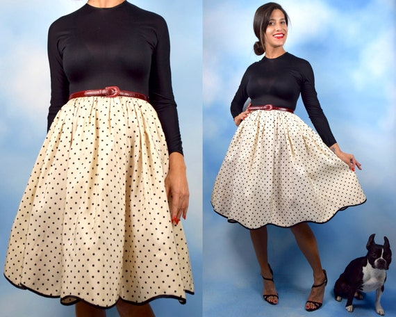 Vintage 80s does 50s Polka Dot Taffeta Long Sleeved Party Dress with Scalloped Hemline and Built In Petticoat (size small, medium)
