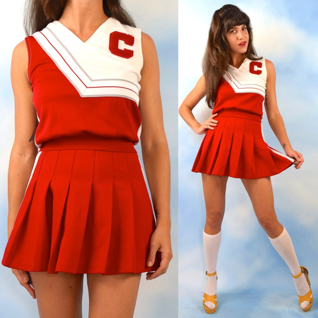 1501b70104 Vintage 70s 80s Red and White Pleated Cheerleading Uniform (size small,  medium)
