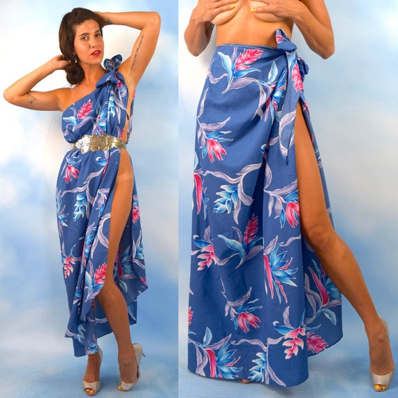 Vintage 70s Royal Blue Hawaiian Floral Print Convertible Sarong (one size fits all)