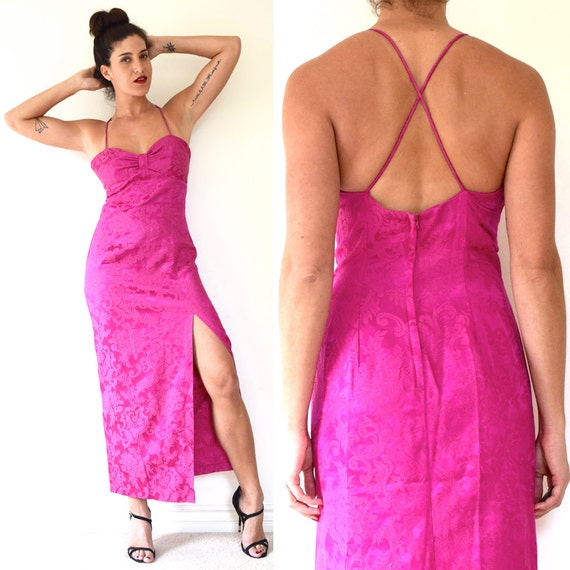 Vintage 80s 90s Fuchsia Orchid Floral Brocade Hourglass Silhouette Evening Gown with Sweetheart Neckline and Criss Cross Back (size medium)