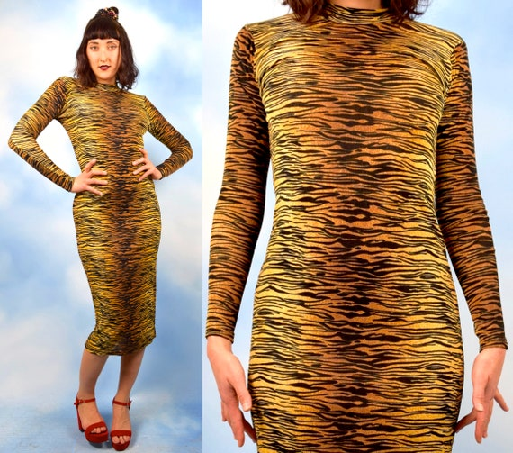 Vintage 90s does 50s Slinky Tiger Print Micro Stretch Knit Midi Dress (size small, medium)