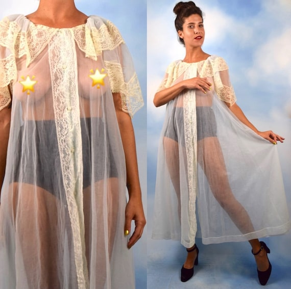 Vintage 50s 60s Powder Blue Sheer Lace Trimmed Peignoir (one size fits most)