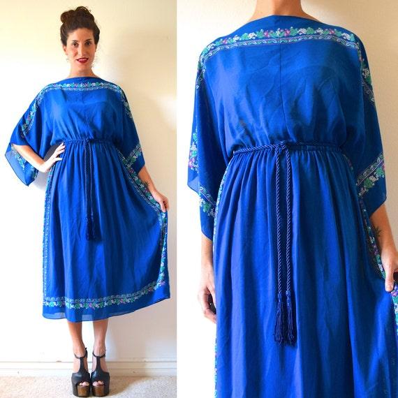 Vintage 70s Royal Blue Floral Handkerchief Dress