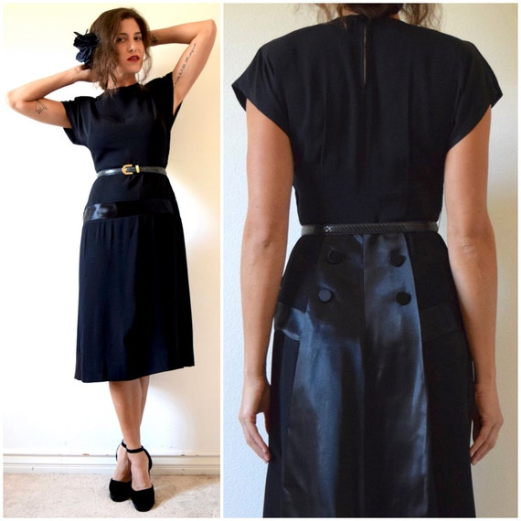 Vintage 30s 40s Black Hourglass Silhouette Dropped Waist Dress with Satin Paneled Back