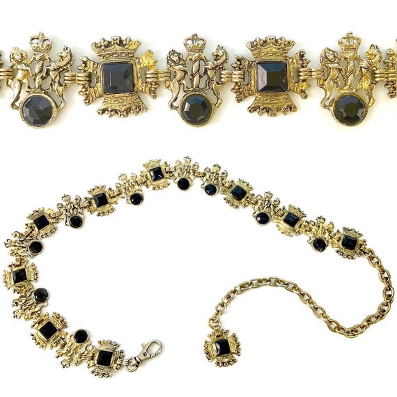 Vintage 80s Royal Coat of Arms Gold Tone Metal Chain Link Belt