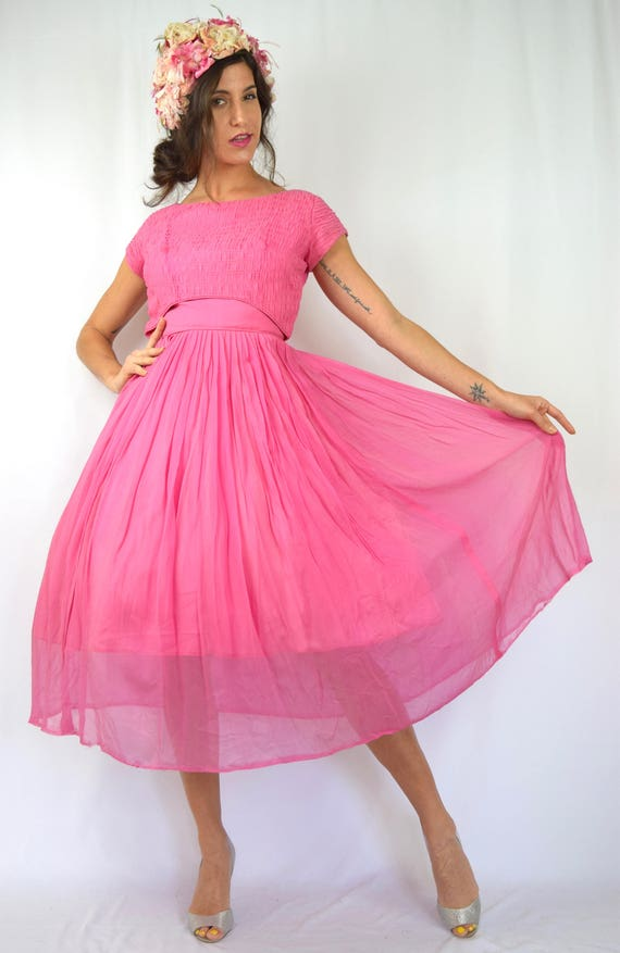 Vintage 50s 60s Pink Chiffon New Look Party Dress