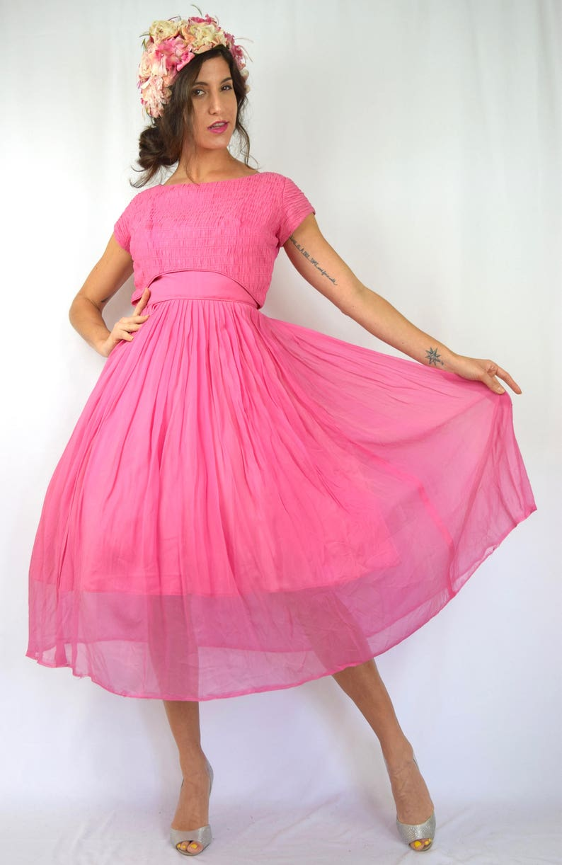 6466509ec9b Vintage 50s 60s Pink Chiffon New Look Party Dress size small