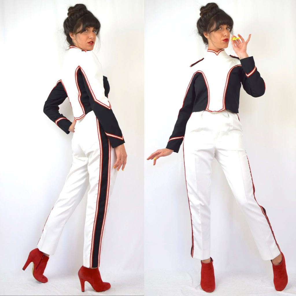 76c63f5abaeb Vintage 80s 90s Marching Band 2-Piece Top and Ultra High Waisted ...