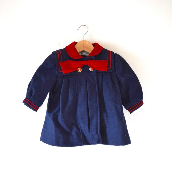 Vintage 50s 60s On the Good Ship Rothschild Navy Blue and Red Wool Little Girl's Sailor Coat (size 2)