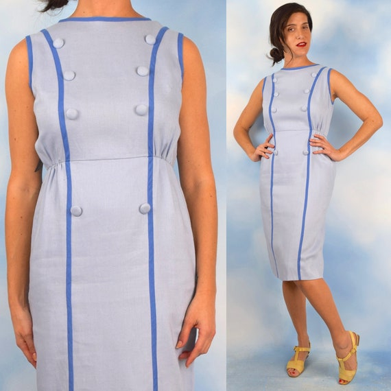 Vintage 60s Mail Call Baby Blue Linen Look Faux Double Breasted Bodice Hourglass Silhouette Wiggle Dress (size medium)