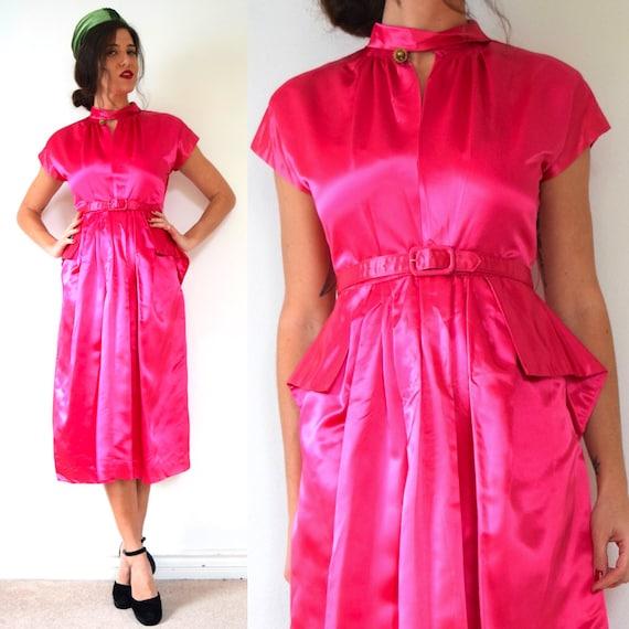Vintage 40s Hottest Pink Satin Peplum Waist Wiggle Dress (size medium)