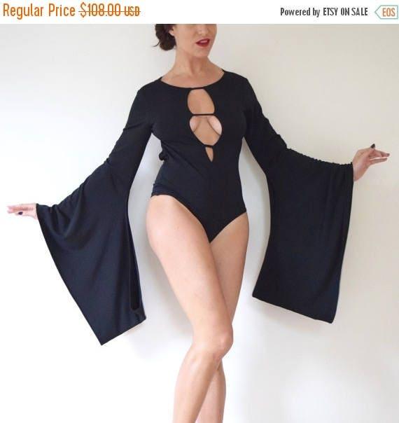 SALE SECTION / 50% off Vintage 90s Inky Black Jersey Kimono Sleeve Backless Leotard
