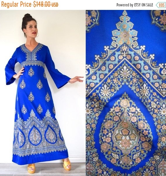 SALE SECTION / 50% off Vintage 70s Alfred Shaheen Royal Blue Metallic Gold Floral Screen Print Bell Sleeve Empire Waist Maxi Dress (size med