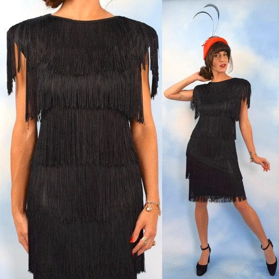 Vintage 80s does 20s Black Tiered Fringe Flapper Dress (size small, medium)