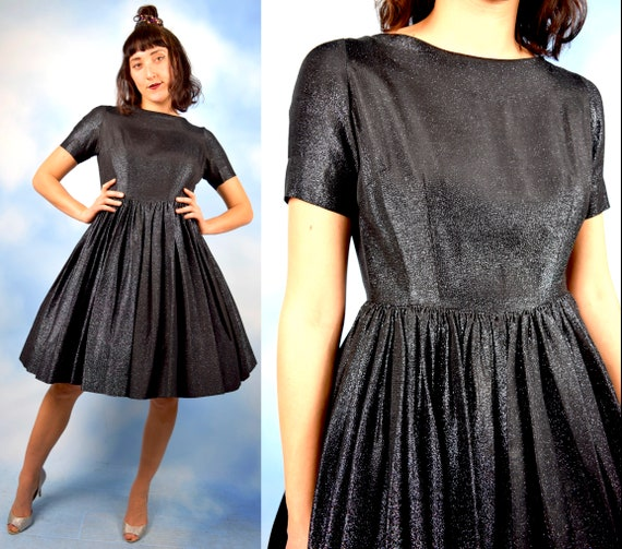 Vintage 50s 60s Another Galaxy Black Shimmer New Look Party Dress (size xs)