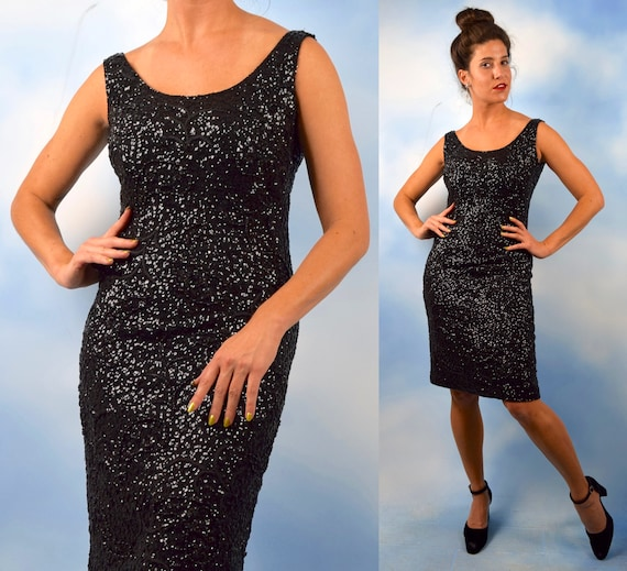 Vintage 50s 60s Black Hand Beaded and Sequined Zephyr Wool Hourglass Silhouette Cocktail Dress (size small, medium)