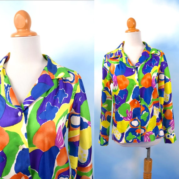 Vintage 60s 70s Fruit Salad Button Down Long Sleeved Collared Shirt (size small, medium)