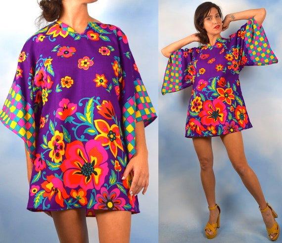 Vintage 60s 70s Groovy Floral Angel Wing Sleeve Bark Cloth Mini Dress (one size fits many)