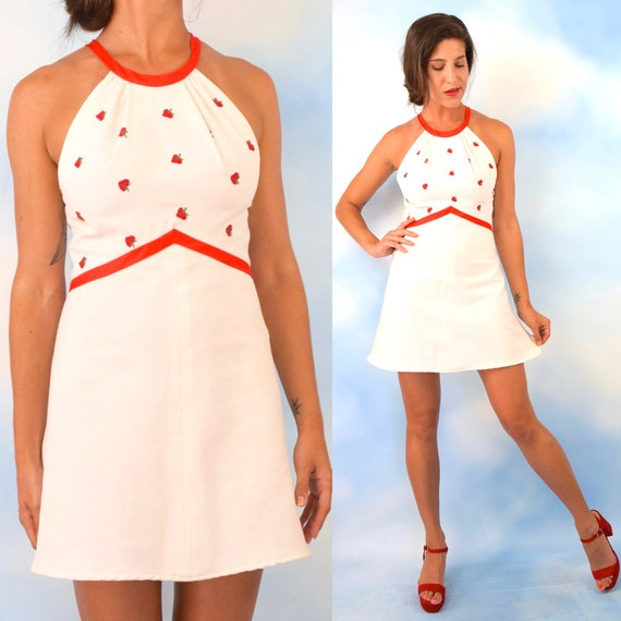 Vintage 60s 70s Strawberry Embroidered White Waffled Cotton Mini Dress (size small, medium)