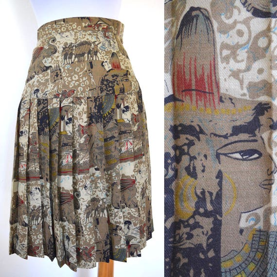 Vintage 80s does 60s Ancient Egypt Novelty Print High Waisted Pleated Secretary Skirt (size xxs, xs)