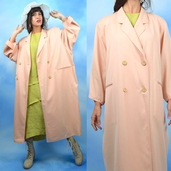 Vintage 80s 90s Giorgio Armani Minimalist Apricot Wool Double Breasted Oversized Trench Coat (size large, xl)