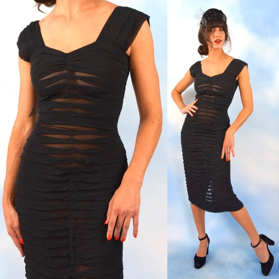 RESERVED Vintage 50s 60s Sheer Black Pleated Hourglass Silhouette Wiggle Dress (size small)