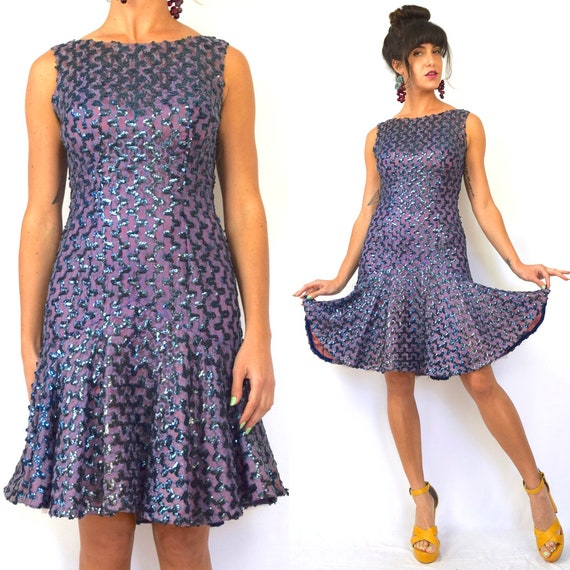 Vintage 60s Violet Mesh Lace Sequined Party Dress (size small, medium)