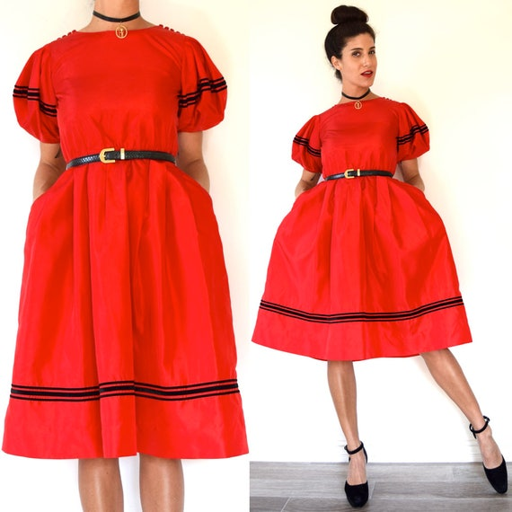Vintage 80s does 50s Red Taffeta Party Dress (size xs, small)