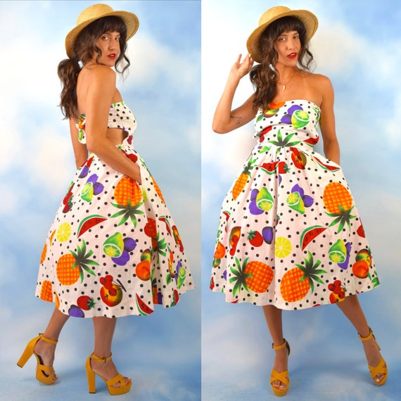Vintage 90s does 50s Fruit Salad Polka Dot New Look Strapless Tie Back T Length Sun Dress with Side Pockets (size xs, small)