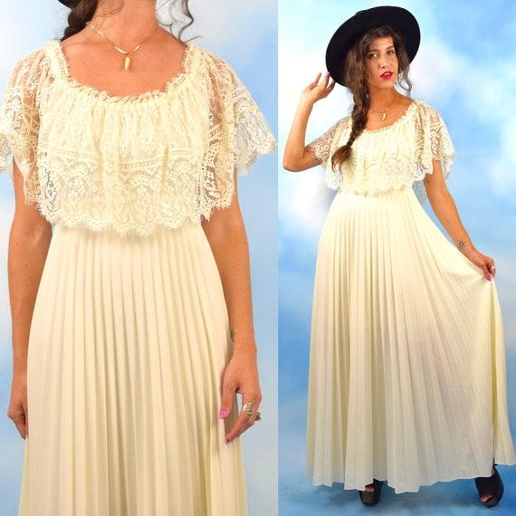 Vintage 70s Ivory Accordion Pleated Maxi Dress with Lace Bodice (size medium, large)